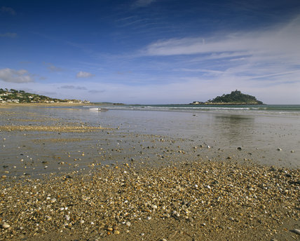 View across the beach towards St Michaels Mount in July