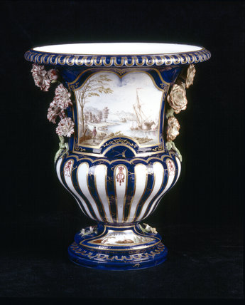 Close view of a French Vase Medici, made at Vincennes before the factory moved to Sevres in 1756 with a scene depicting boats, a castle, a figure, in the Picture Room at Upton House
