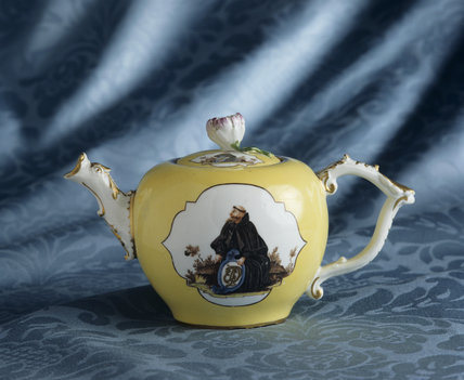 Close-up of Yellow Meissen teapot from a monogramed service c