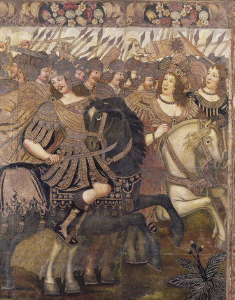 The gilt leather hangings in The Gallery at Dunster Castle depict the story of Antony and Cleopatra; here at the battle of Alexandria they flee before Octavius Caesar's army
