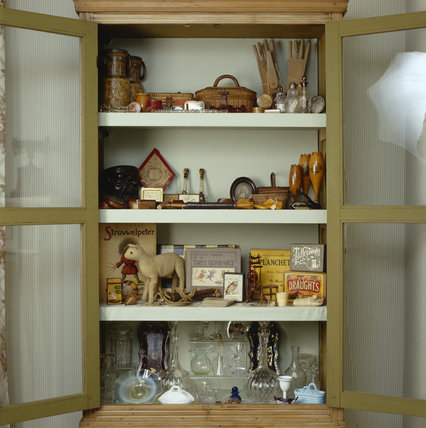 A close view of the display cabinet in the P.M. Ward Collection at Llanerchaeron