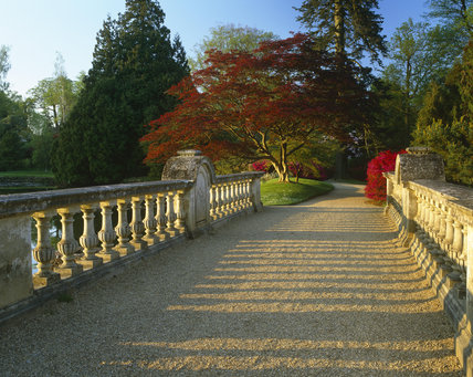A view along a bridge at Sheffield Park Garden, between the Ten foot Pond and the Middle Lake