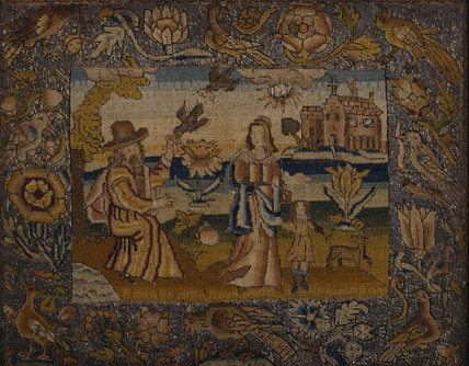 A 17th Century stumpwork picture of HAGAR AND ISHMAEL at Fenton House