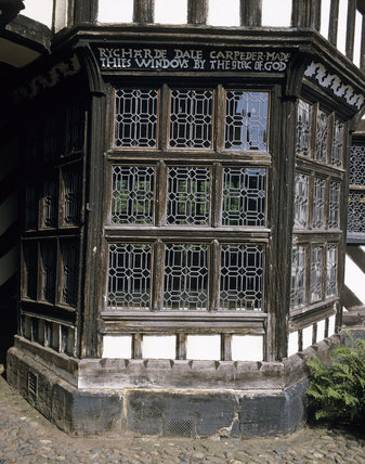 Close-up of an unusual window in Little Moreton Hall