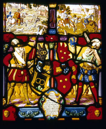 Detail of German stained glass window panel bearing dates and inscriptions of sixteenth and seventeenth centuries, in the Hall at Upton House