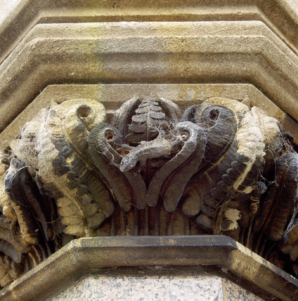 Detail of stone carving of fern leaves on the East Front of the Victorian Gothic Revival house, Tyntesfield, designed by John Norton between 1863 and 1866