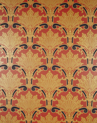 Detail of the wallpaper in the Billiard Room at Dunster Castle