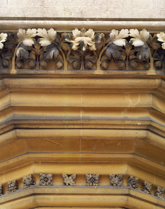 Detail of stone carving under the East Front turret at Tyntesfield, a Victorian Gothic Building designed (1863-75) by British architect, John Norton