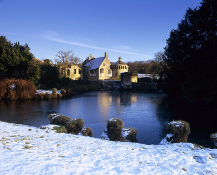 View of Scotney Castle in the winter