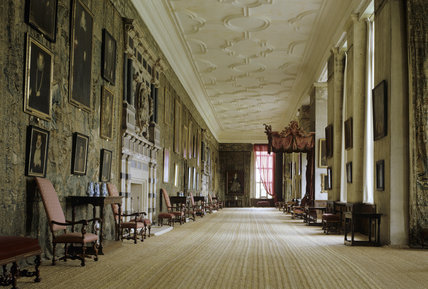 Room view of the whole of the Long Gallery at Hardwick Hall with the Gideon tapestries on the left