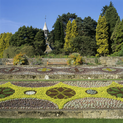 This is a view of carpet bedding, Cragside, Northumberland