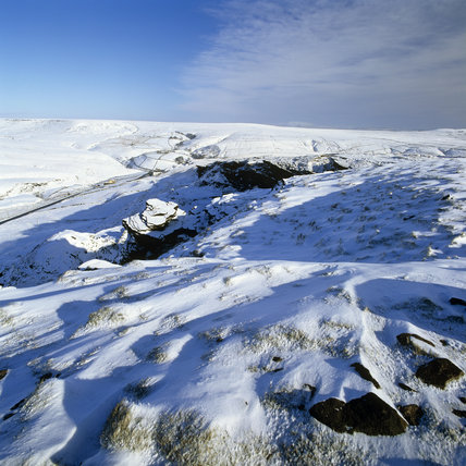 Looking north from Pule Hill over the snow covered landscape, towards Cupwith Hill in the middle distance