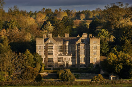 An autumn view of the exterior of Fountains Hall built between 1598 and 1611 which was partly built with stones from the ruins of Fountains Abbey, North Yorkshire