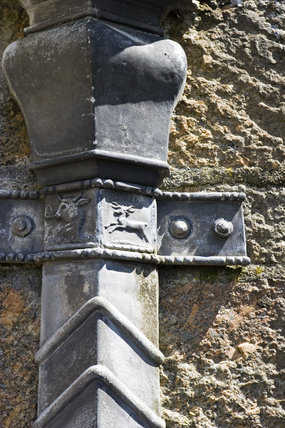 A decorative downpipe at  Castle Drogo, Devon