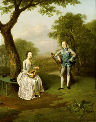 SIR NATHANIEL (1726-1804) AND LADY CAROLINE CURZON (1733-1812) by Arthur Devis (1712-1787) from Kedleston Hall