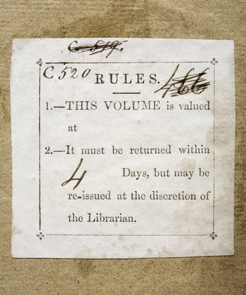 Ticket of the Londonderry Military Library, in Antoine Henri de Jomini,