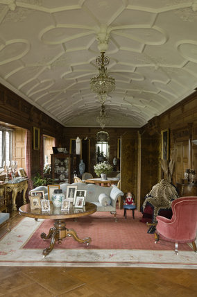 The Drawing Room with barrel-vaulted plasterwork ceiling, looking south at Lanhydrock, Cornwall