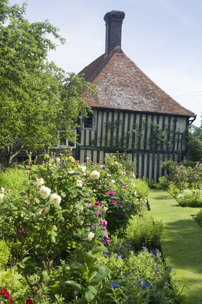 The garden and early sixteenth-century half-timbered house, Smallhythe Place, the home of actress Ellen Terry from 1899 to 1928 at  Tenterden, Kent
