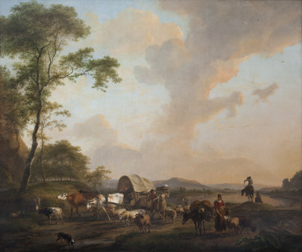 LANDSCAPE WITH ANIMALS, FIGURES AND A WAGONS, 1789, by Balthasar Paul Ommeganck (1755-1826), painting in the Saloon at Plas Newydd, Anglesey
