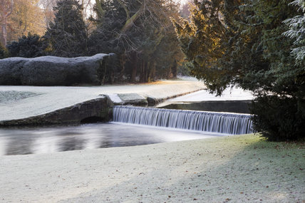 The Drum Fall in winter at Studley Royal Water Garden, adjoining the estate at Fountains Abbey, North Yorkshire