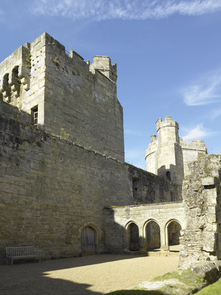 The rear of the Postern Tower on the South Range, with the three arches of the Screens Passage separating the Great Hall from the Kitchen at Bodiam Castle, East Sussex, built between 1385 and 1388
