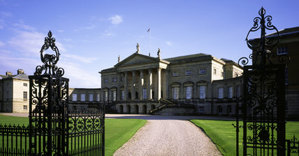 The north front of Kedleston Hall, Derbyshire seen through the wrought iron gates