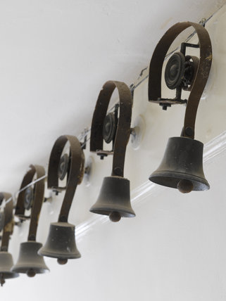 Servants bells at Greenway, Devon, which was the holiday home of the crime writer Agatha Christie between 1938 and 1976