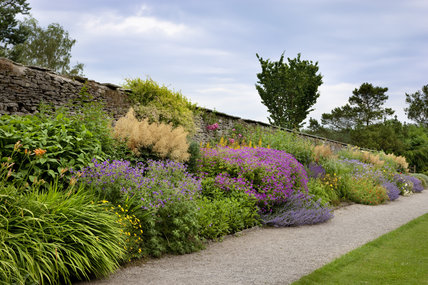 The herbaceous border in June at Sizergh Castle, near Kendal, Cumbria