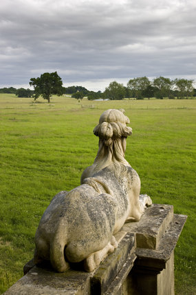 One of a pair of Coade stone sphinxes at the south front portico of the house at Croome Park, Croome D'Abitot, Worcestershire