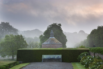 The North Terrace and the eighteenth-century dovecote at Antony, Cornwall