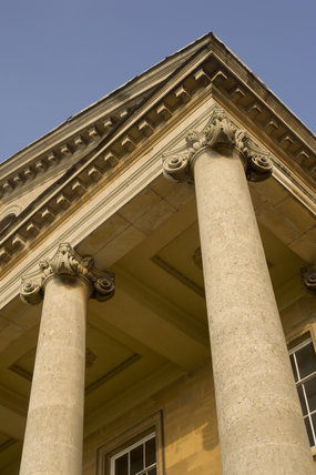 Portico on the south front at Croome Court, Croome Park, Worcestershire