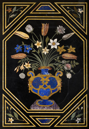The central panel of a flower arrangement in a vase from the pietra dura table in the Entrance Hall at Hinton Ampner, Hampshire
