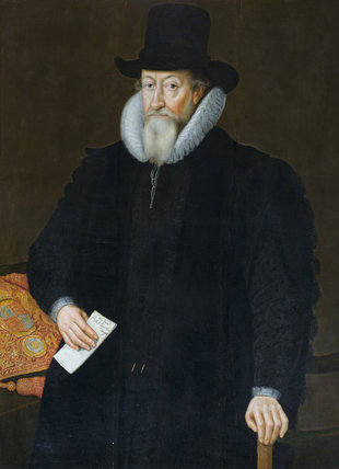 SIR THOMAS EGERTON, VISCOUNT BRACKLEY, 1540?-1617, Lord Chancellor, 1603-17, with his seal bag as Lord Keeper to Elizabeth I