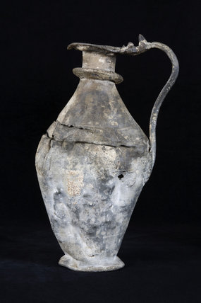 English pewterware flagon, part of the collection of flagons acquired by Miss Chichester in the Corridor at Arlington Court, Devon