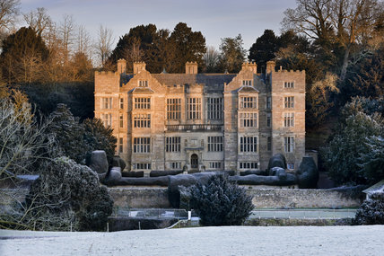 A winter view of Fountains Hall, built between 1598 and 1611 with stones from the ruins of Fountains Abbey, North Yorkshire