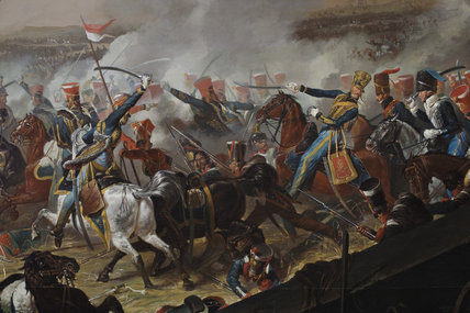 A detail from the painting: BATTLE OF WATERLOO  by Denis Dighton (1792-1827), painting in the Cavalry Room at Plas Newydd, Anglesey