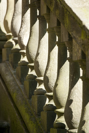 Detail of the balustrade on the Palladian Chapel, begun in 1760 to the design of James Paine, at Gibside, Newcastle upon Tyne