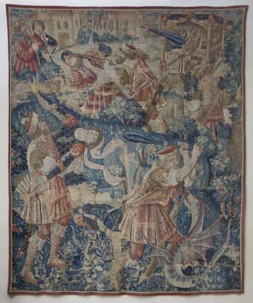 Flemish, late fifteenth century, tapestry depicting The Eleventh Labour of Hercules
