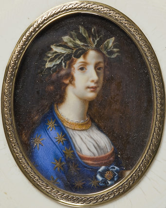 Circular ivory box with an oval miniature of a girl with a crown of laurels in a gilt frame, at Berrington Hall, Herefordshire