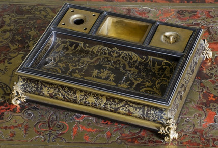 The Comte de Flahaut's pen tray on the Regence Boulle writing desk in the Drawing Room at Berrington Hall, Herefordshire