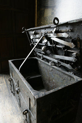 The Armada chest in the Leicester Gallery at Knole, Sevenoaks, Kent