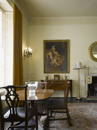 The Dining Room at Greenway, Devon, which was the holiday home of the crime writer Agatha Christie between 1938 and 1976