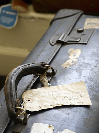 Vintage luggage in the Dressing Room at Greenway, Devon, which was the holiday home of the crime writer Agatha Christie