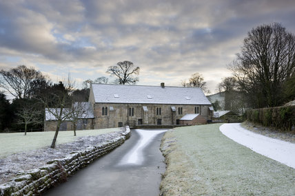 Winter view of Fountains Mill, the oldest building on the Fountains Abbey estate in North Yorkshire