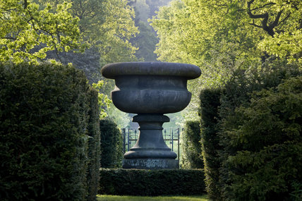 Decorative urn at the end of the Wellingtonia Avenue at Biddulph Grange Garden, Staffordshire