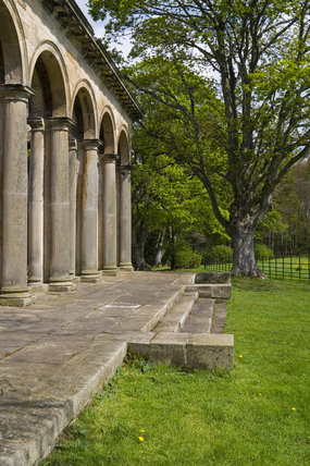 The Tuscan columns and arched arcade of the Orangery, which was begun in 1772 to a design attributed to James Paine, at Gibside, Newcastle upon Tyne