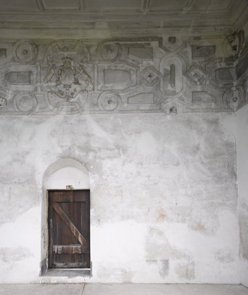 Plasterwork frieze in the Banqueting Room in the south turret at Hardwick Hall, Derbyshire