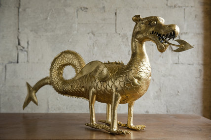 Sixteenth-century dragon weathervane, now on display in the Gallery Room at Newark Park, Gloucestershire