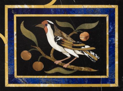 A panel depicting a bird and fruit tree from the pietra dura table in the Entrance Hall at Hinton Ampner, Hampshire