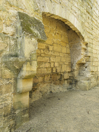 The 13 foot-wide fireplace in the south wall of the Kitchen at Bodiam Castle, East Sussex, built between 1385 and 1388